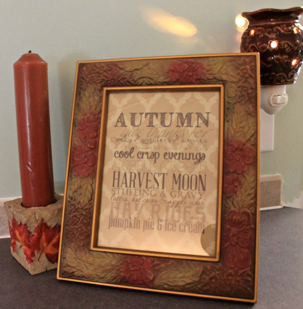 Fall home tour 2015.Framed fall print.intelligentdomestications.com