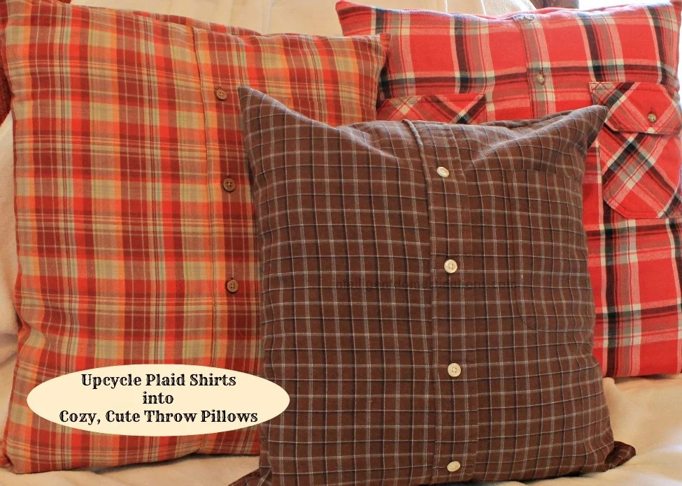 Upcycle Plaid Shirts into Cozy cute throw pillows.intelligentdomestications.com