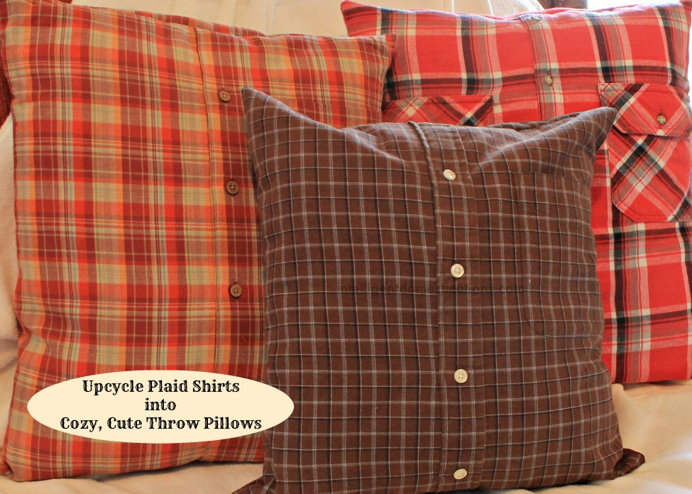 A picture of three plaid shirt pillows grouped together