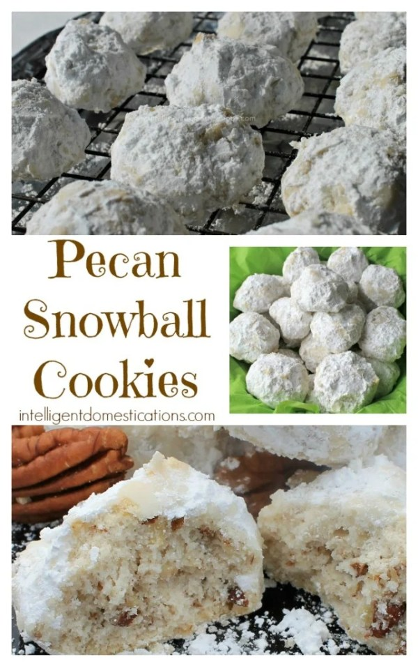 Pecan Snowdrop Christmas Cookies recipe. This old fashioned cookie recipe is very similar to Pecan Sandies. They come out light and just melt in your mouth. Great for Christmas Cookie Exchange parties to take to work or any Christmas cookie occasion. #cookies #intellid