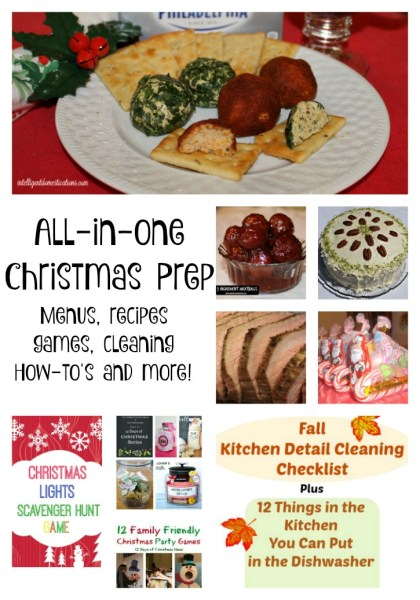 All In One Christmas Prep Ideas with Menus, recipes, games, cleaning, How-to's and more