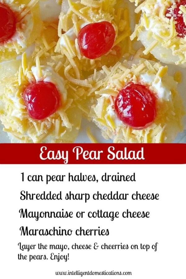Pear Salad is an old Southern recipe served on special occasions or for everyday meals. It's a fruit salad with mayo topped with cherries. Ready in minutes and pretty on the table. #fruitsalad #pearsalad