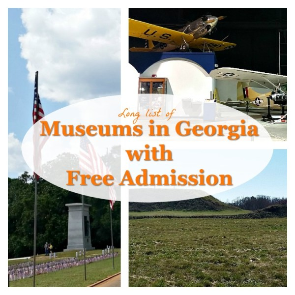 Long list of Georgia Museums with free admission