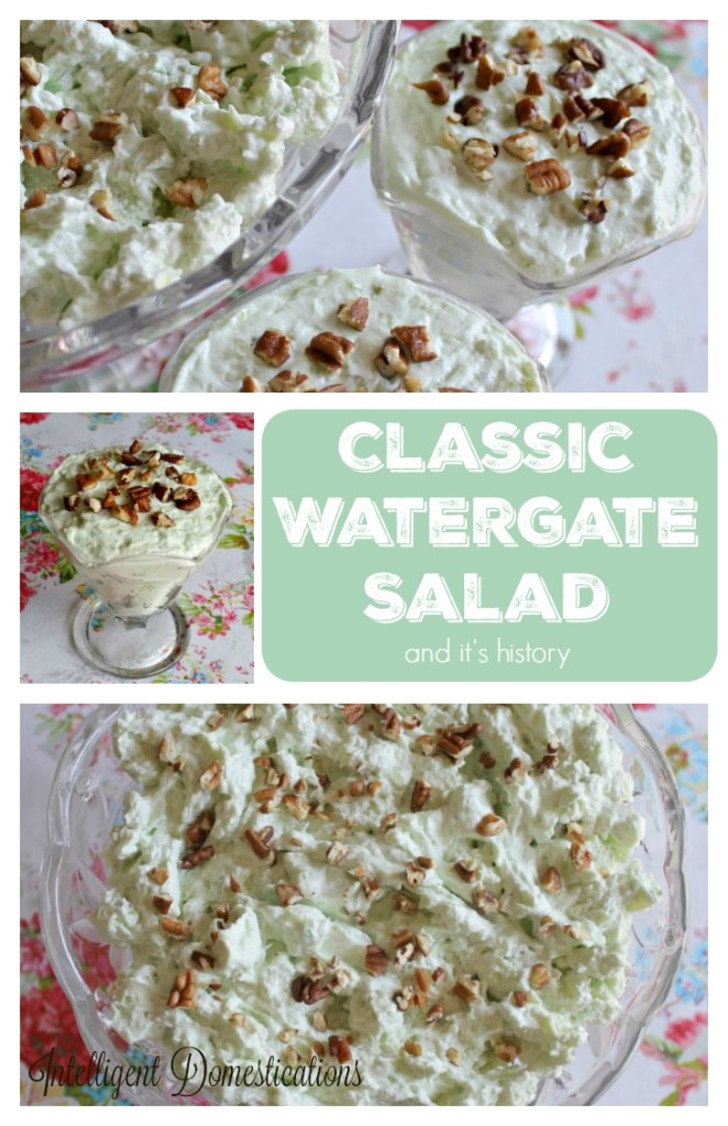 Classic Watergate Salad recipe and it's history can be found at intelligentdomestications.com