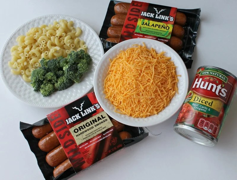 Crockpot Broccoli and Sausage Macaroni & Cheese Dinner ingredients.intelligentdomestications.com