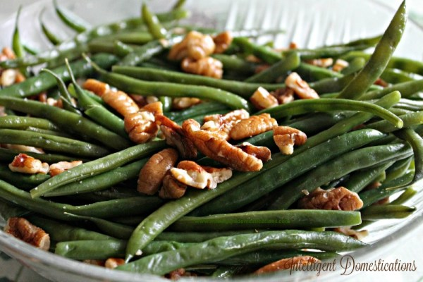 Pecan Glazed Green Beans are really easy to prepare. Get the easy recipe at intelligentdomestications.com