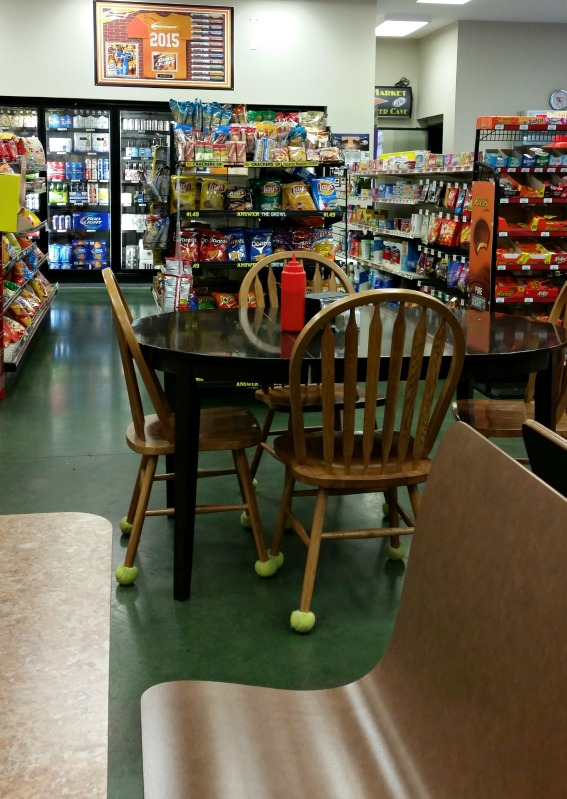 Frank Allen's Pigeon Forge, Tn. Gas Station dining with a special table for the regulars to have coffee and conversation.photo by intelligentdomestications.com