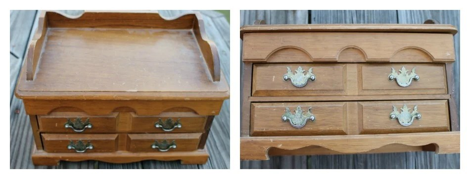 Old wooden Jewelry Box with two drawers