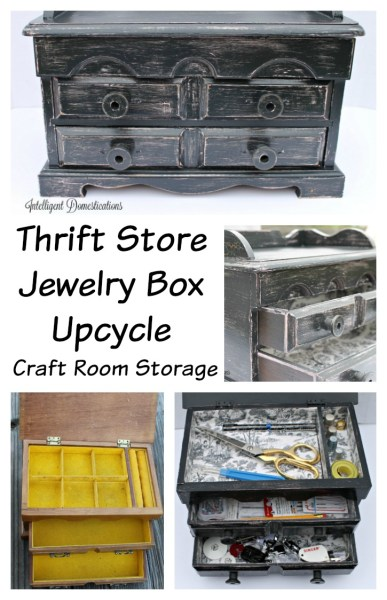 Thrift Store Jewelry Box Upcycle. Craft Room Storage project.intelligentdomestications.com