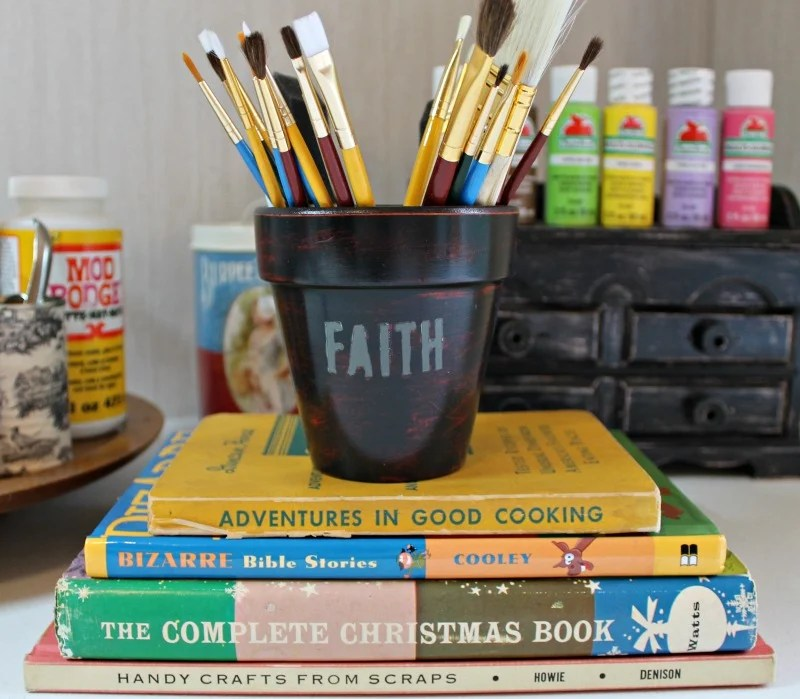 DIY Faith stenciled clay pot craft room paint brush storage