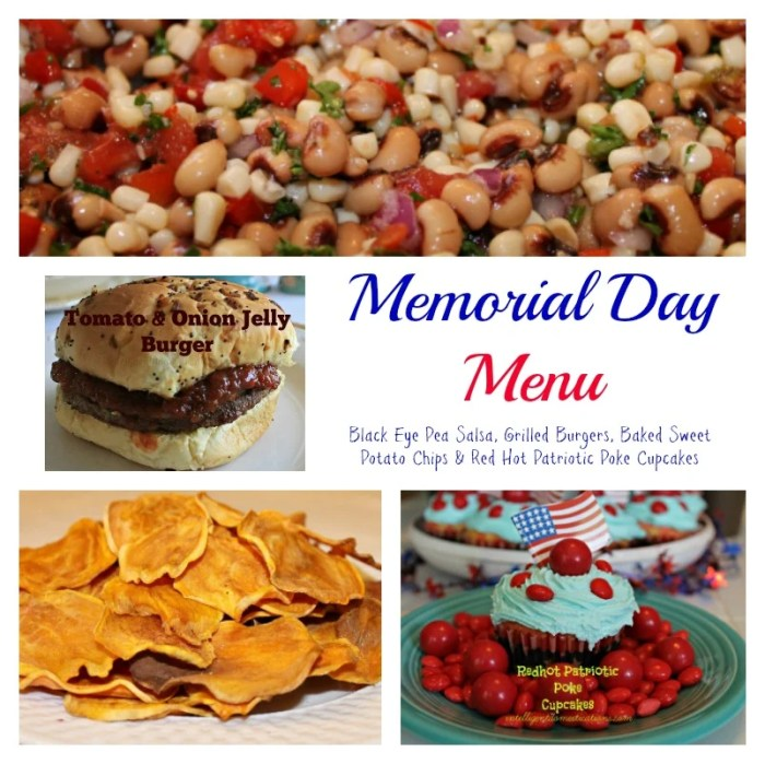Our Memorial Day Menu plan includes Grilled Red Onion Tomato Jelly burgers, Baked sweet potato chips, Black eye pea Salsa and Red Hot Patriotic Poke Cupcakes
