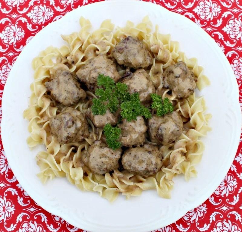 meatballs on egg noodles