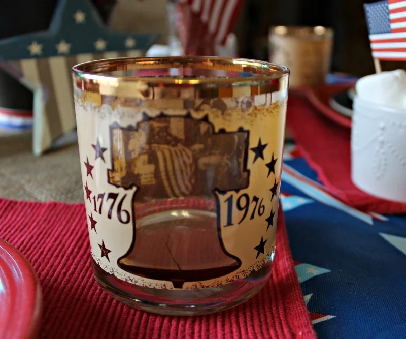 Becentennial collectors glasses are a part of my Patriotic tablescape using what I already have