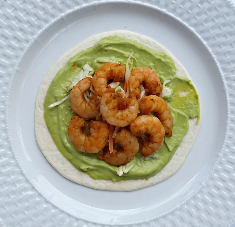 Cajun Grilled Shrimp Burritos with Avocado Cream Sauce