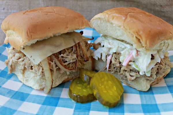 Crockpot Ranch Chicken Sliders made with chicken thighs for a more juicy flavor. How to make shredded chicken in the Crockpot. #recipe #chickenrecipe #slidersrecipe #sandwiches #easyrecipe #twoingredients