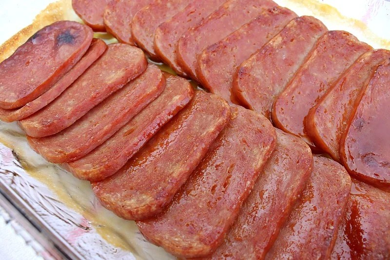Glazed Spam is baked and ready for dinner in no time