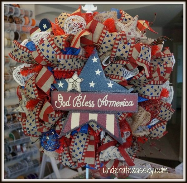Poly Burlap Ruffle Wreath USA