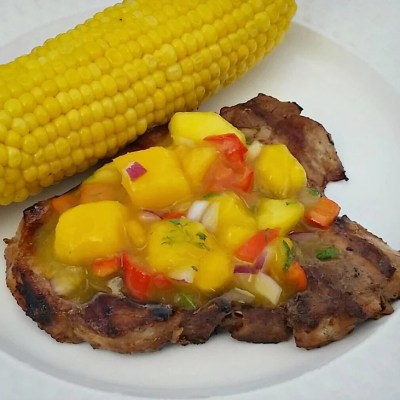Honey Sweet Peach Mango Salsa &  Grilled Pork Chops Menu