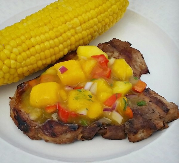 Grilled Smithfield All Natural Pork Chop served with Honey Peach Mango Salsa