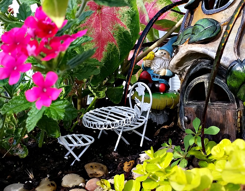 Our Fairy Garden Bistro set after makeover