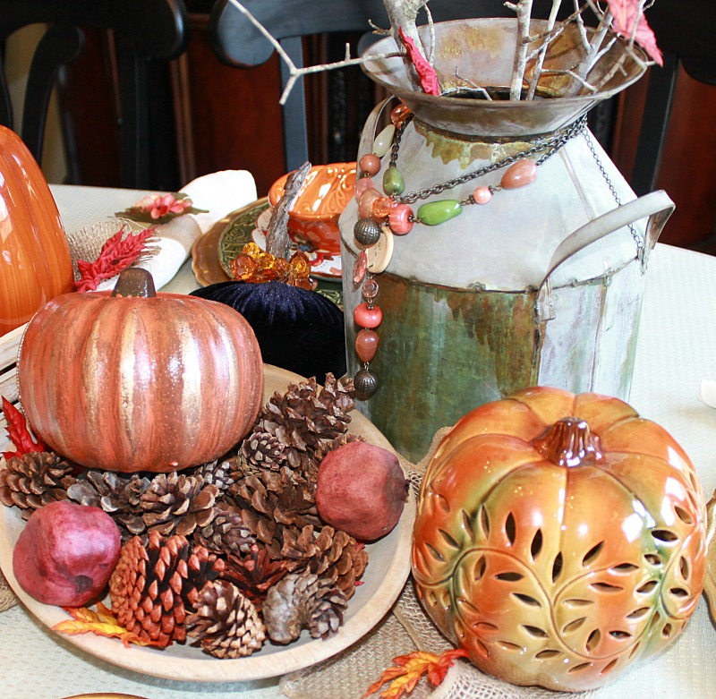 Doesn't this vintage milk canister with all it's gorgeous patina add such charm to our Farmhouse Style Fall Tablescape