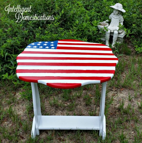 American Flag side table makeover