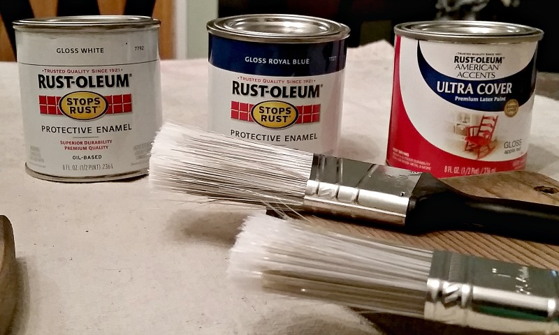 Rust-Oleum Paint colors used for the flag table makeover