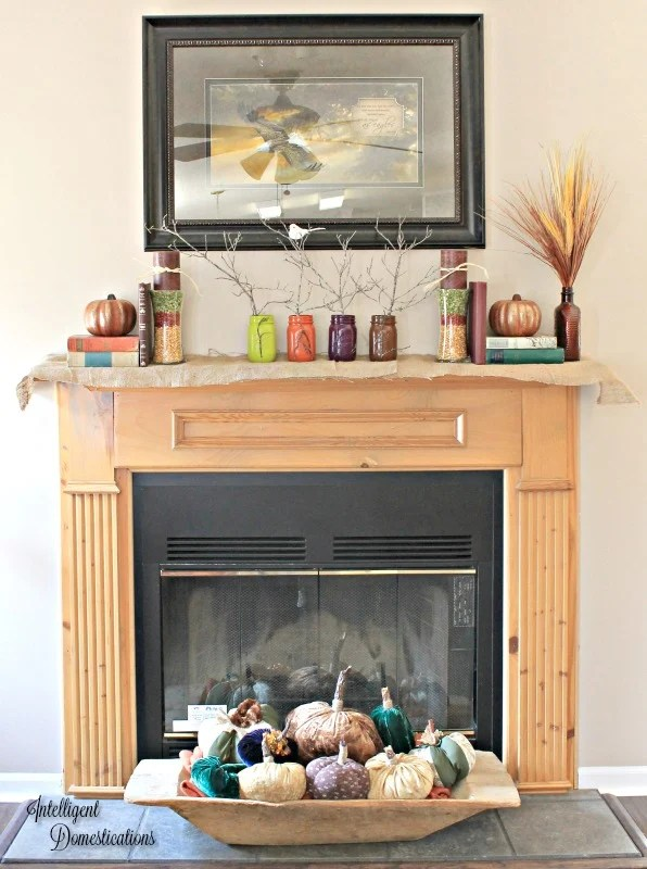 ode-to-pinterest-fall-mantle-decor-painted-mason-jars-layered-peas-and-beans-create-color-dollar-store-craft-fabric-pumpkins-and-more-intelligentdomestications-com