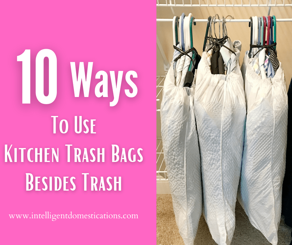Trash bags used to contain clothes on hangers for moving