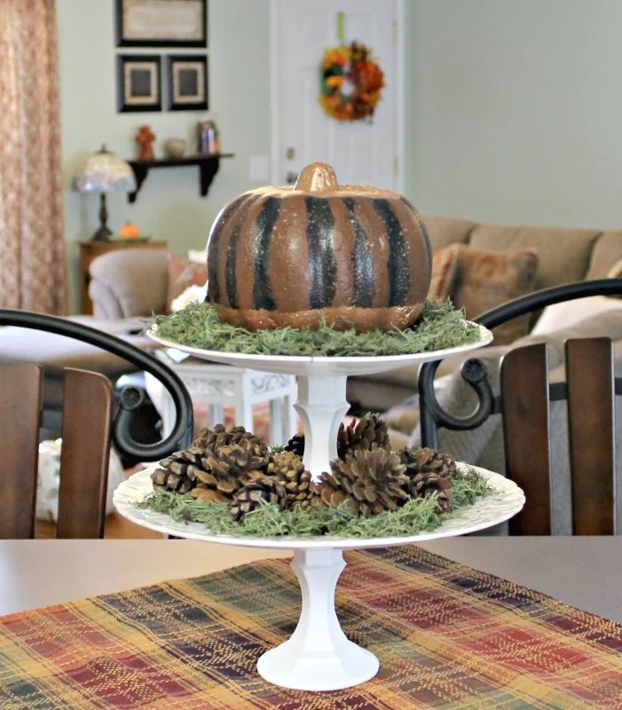 Styrofoam pumpkin makeover. How to make over a Dollar Store Pumpkin. Black and gold DIY Pumpkin