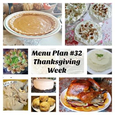 Menu Plan #32 Thanksgiving Week