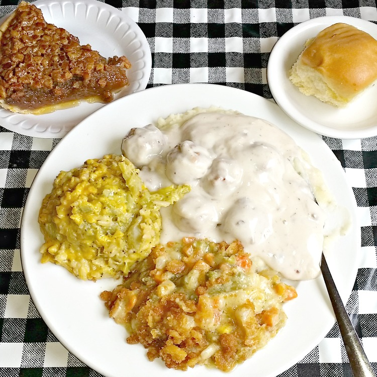 swedish-meatballs-broccoli-casserole-vegetable-casserole-roll-and-pecan-pie-at-mennonite-restaurant-in-montezuma-ga