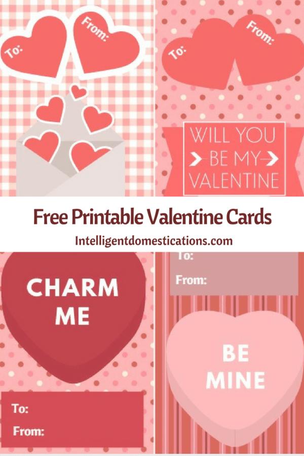 Free Printable Valentine's Day Cards. Enjoy these free printable pretty pink Valentine's Day cards courtesy of Intelligent Domestications. #valentines
