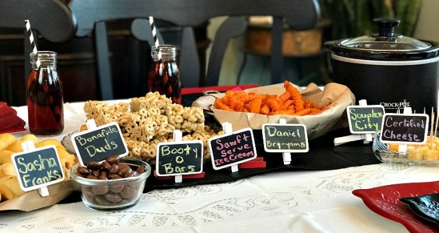 Our WWE Wrestlemania Party food was a big hit! We created a variety of WWE Pun Named food for some of the wrestling favorites including Sasha Franks and -Bry-yams plus more. Use our recipe for Booty-O-Bars. #WWEPunNameFood #WWE #Wrestlingparty