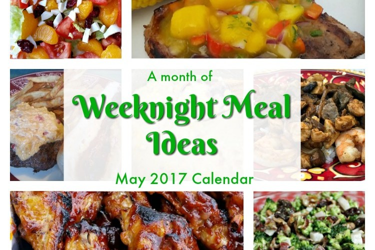 Monthly Meal Plan for May 2017. Weeknight meal ideas with easy recipes. Free download or printable calendar