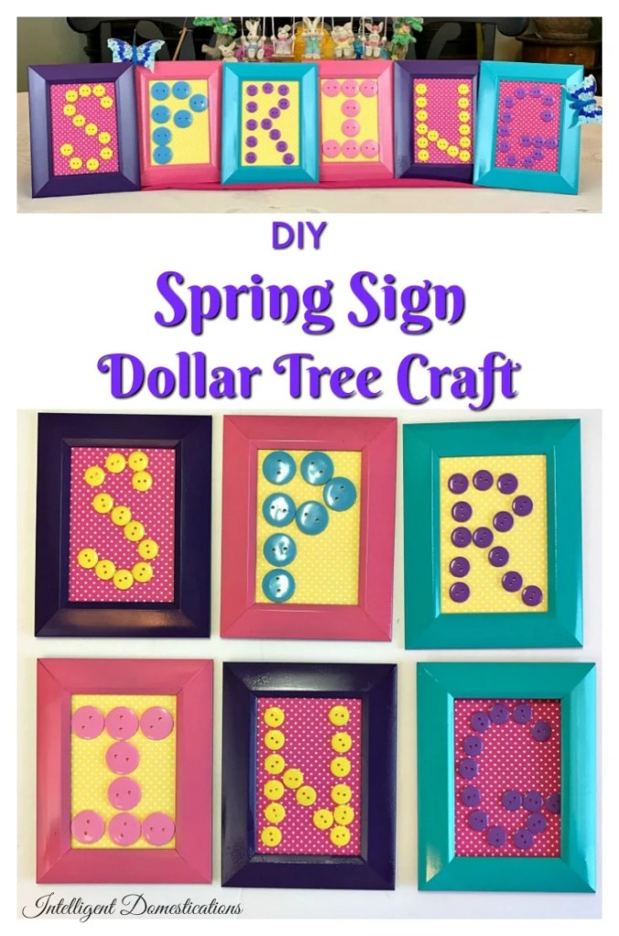 diy spring sign dollar tree home decor craft project - Domestications Home Decor