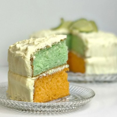 How to make Orange Lime Layer Cake with Lemon Lime Cream Cheese frosting. Tricks with cake mixes. Tropical fruit flavored cake