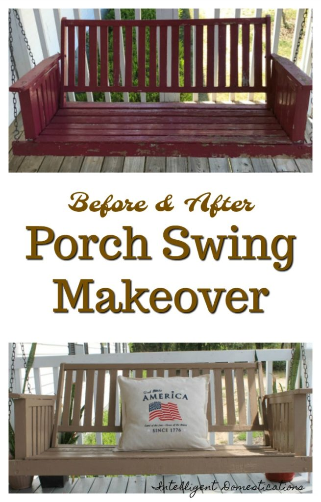 Porch Swing Makeover. Before and After pictures including the paint color used. Oak porch swing makeover project details.