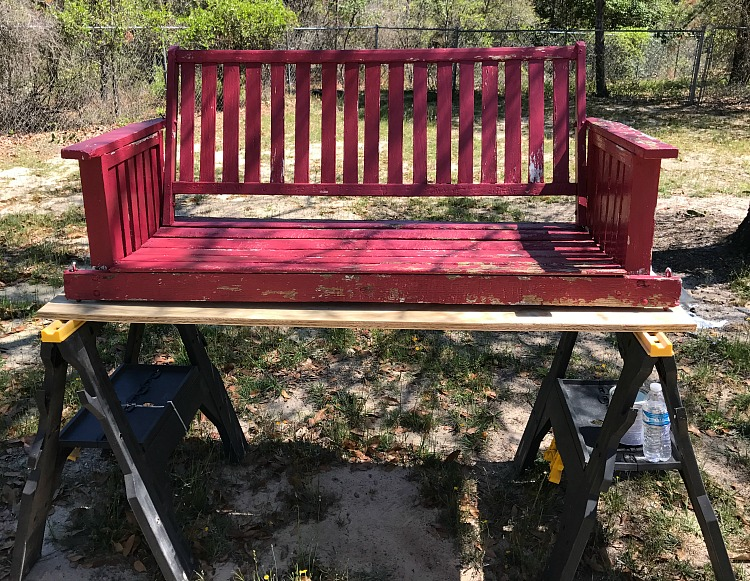 Swing Makeover project. How to makeover an old porch swing.