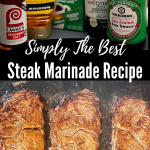 steaks cooking on a flat top grill and a collection of marinade ingredients