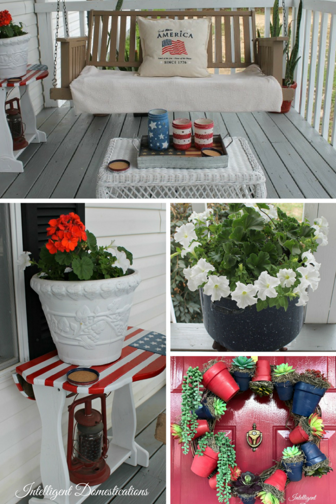 Porch Makeover Before Picture. Complete makeover including new steps, painted rails and floor, painted swing, planters and wicker chair. Boston ferns, geraniums and more added