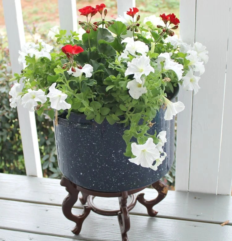 Upcycle an old enamelware canner pot into a unique flower container.