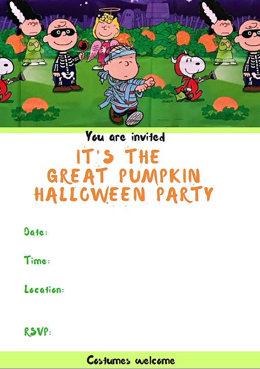 Peanuts®Great Pumpkin Halloween party invitation. free printable. Halloween party ideas. Great Pumpkin Halloween party. Halloween party for kids.