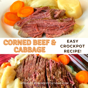 corned beef brisket, carrots, cabbage and potatoes on a dish