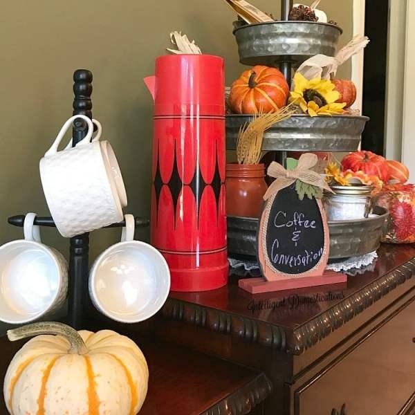 Tiered Fall Coffee Bar. Hot Beverage Bar set up on antique buffet. Fall coffee bar. Fall Hot beverage bar.