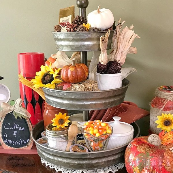 How to set up a fall coffee bar using what you have. DIY Fall Coffee Bar