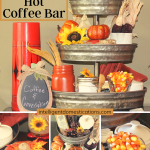 A Fall coffee bar decorated with traditional fall colors using a galvanized three tier shelf and vintage coffee thermos
