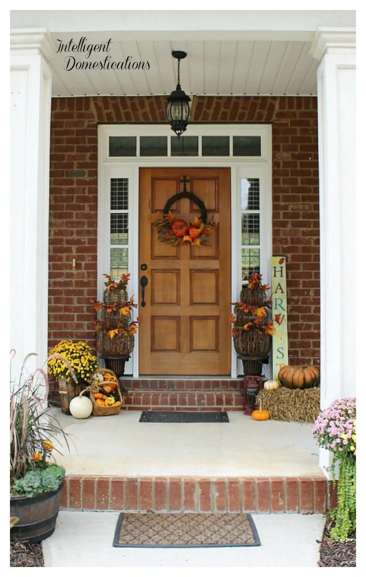 Fall Front Porch Tour. Fall front porch decor ideas. Fall porch decor. Decorating for fall with pumpkins, Mum, Pansies and vintage decor.