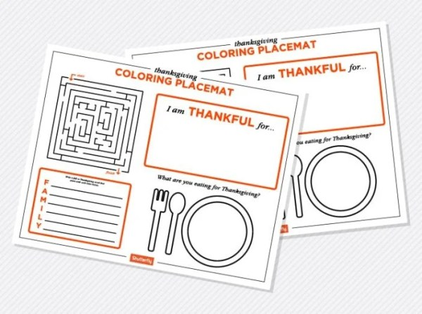 Printable Thanksgiving Coloring Placemats Featured at Merry Monday Link UP 181