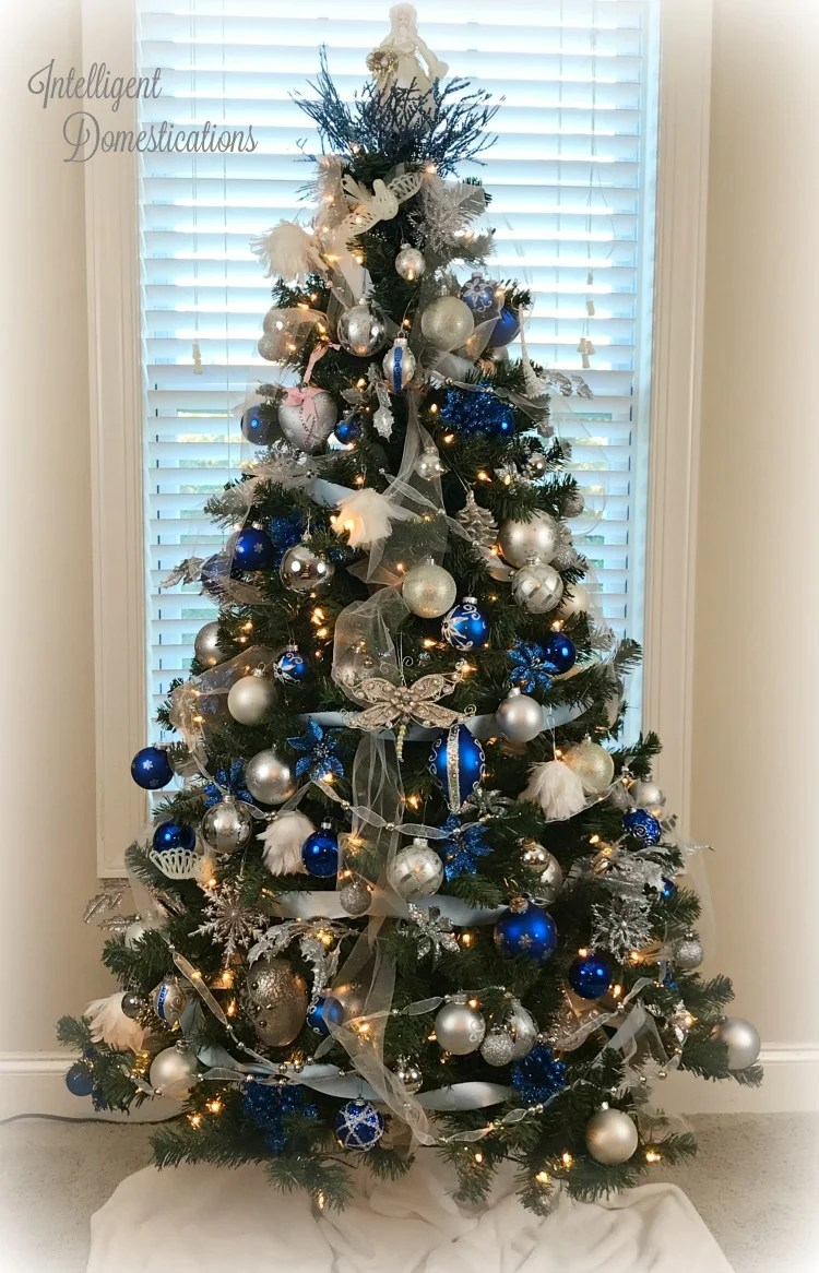 blue and white christmas tree decor royal blue white and silver christmas tree decorations - Blue And White Christmas Tree